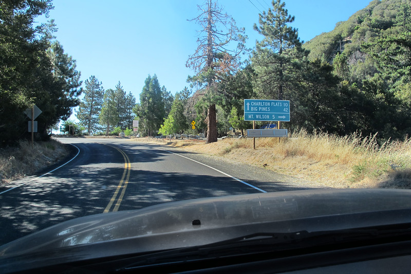 About to turn onto the Mt Wilson Road off the Angels Crest Highway.<br /> <br /> Today going to hike to the summit of Mount Lowe in the San Gabriel Mountains.  The hike will be about three mile round trip with a 500 foot gain.