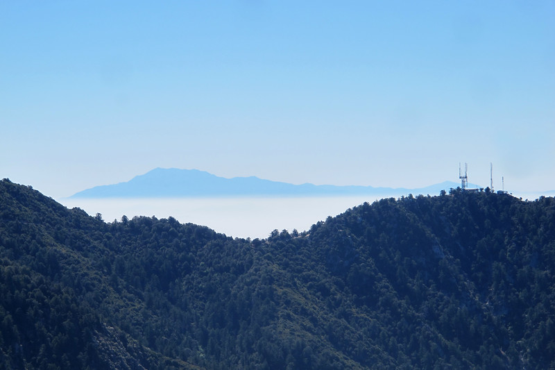 Zoomed in on San Gorgonio Mountain at 11,499' poking up through the haze about 75 miles away.
