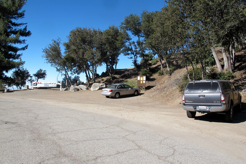 The parking area at Eaton Saddle,  elevation of about 5,100 feet.