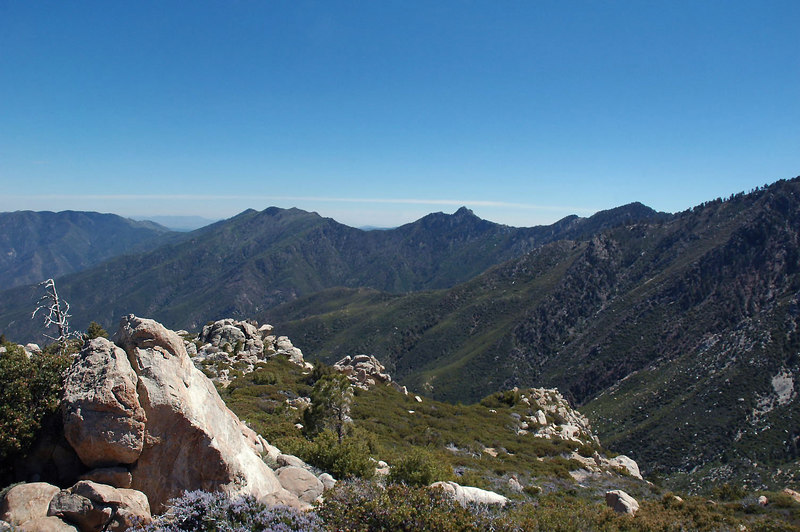 A view of Apache Peak, Antsell Rock and South Peak to the south from Sam Fink Peak.