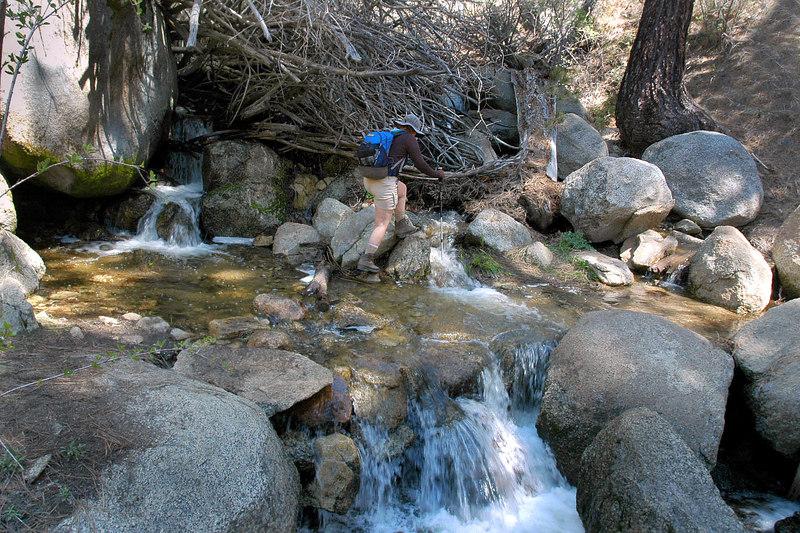 Kathy crossing Candy's Creek.