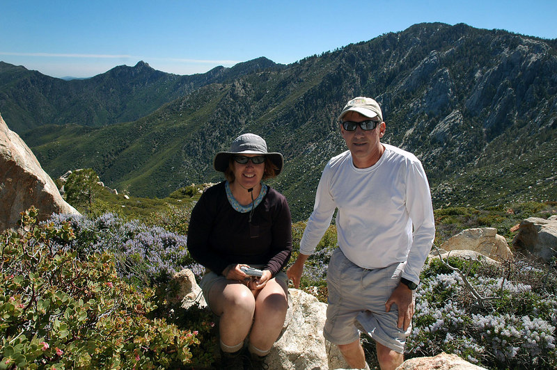 Kathy and me on the top of Sam Fink Peak at 7,339 feet. After all that hiking, we are only 640 feet higher than the trailhead at Humber Park.