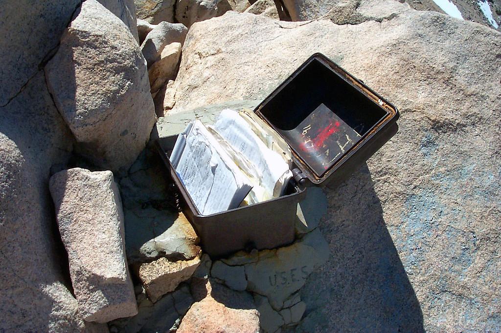 The summit register box.