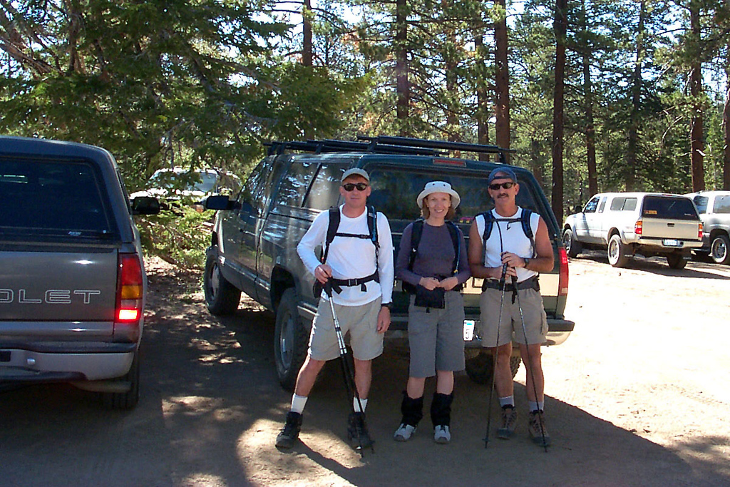 Joe (me), Zoe and Doug at the Fish Creek trailhead at 8,070 feet. The plan for the day was to summit San Gorgonio Mountain and check out the C-47 wreckage on the Sky High Trail, a 17.5 mile round trip.