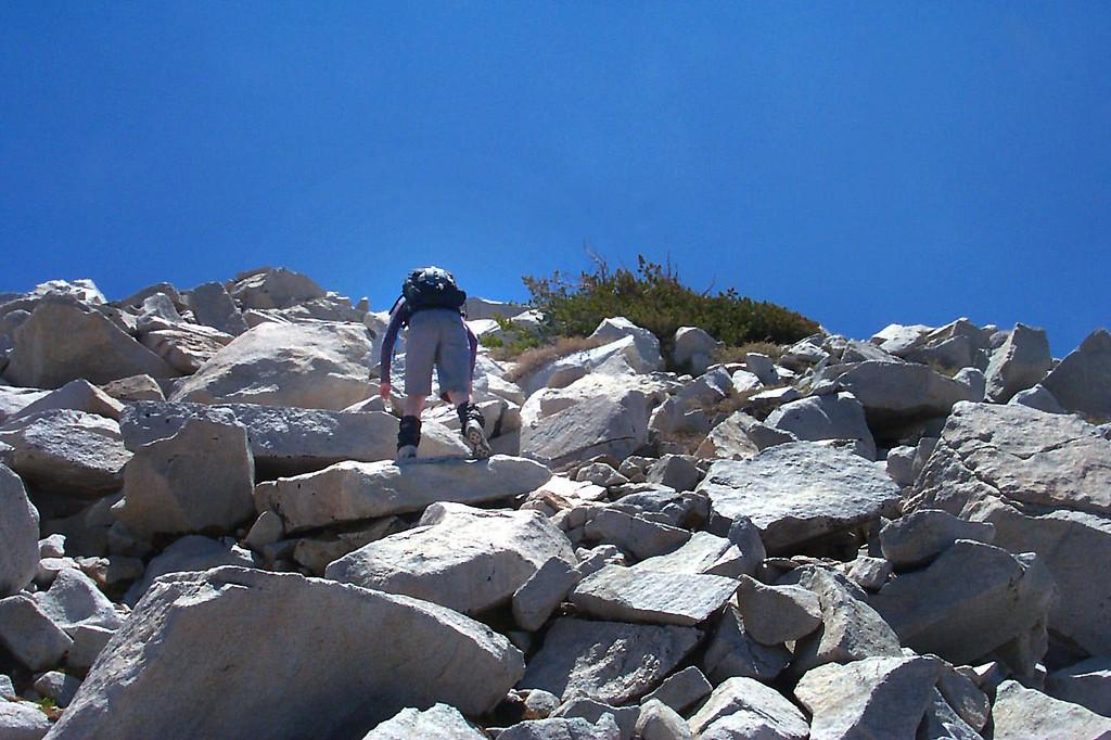 The last few hundred feet of the climb was on rocks.