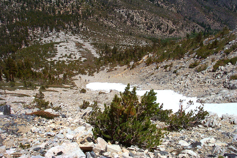 A few backpackers can be seen on the trail below from about half way up.