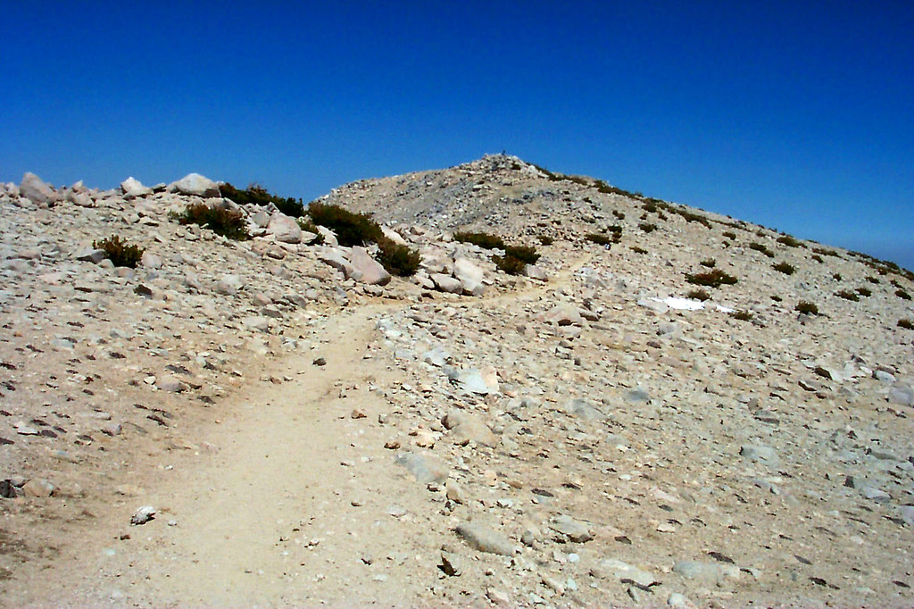 Looking back at San Gorgonio's summit as we start our descent.