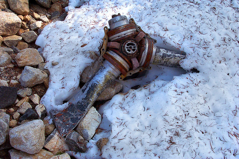 What's left of one of the propellers. One blade was broken off, another was sawed off and one covered in snow.