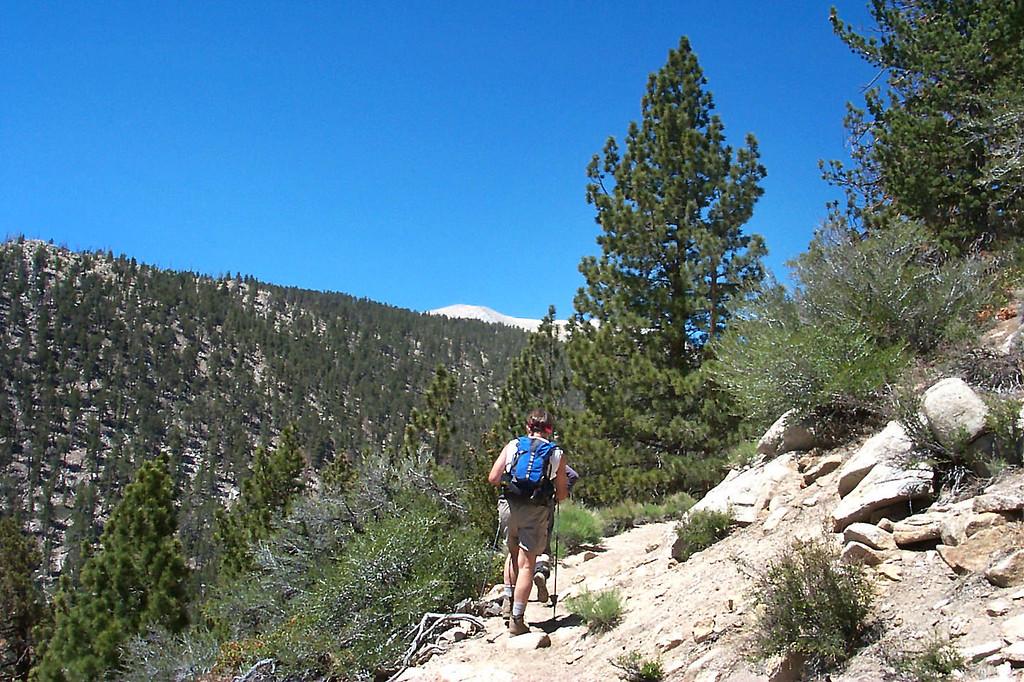 San Gorgonio Mountain is barely visible behind the ridge.