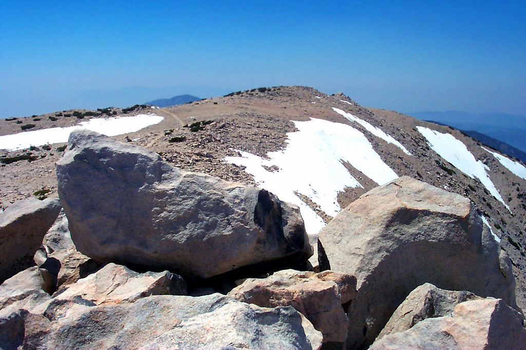 Looking west from the summit. Not much snow left.