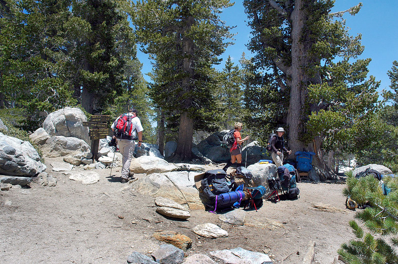 Arriving at Wellman Divide at 9,700 feet. The packs belong to another group that's making a break here.