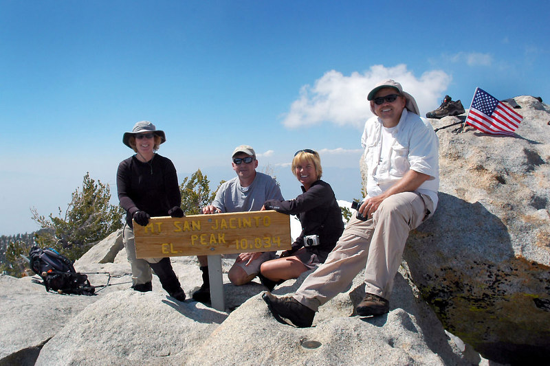 Kathy, Me, Sooz and Bruce on the summit of San Jacinto Peak at 10,834 feet. The second highest peak in southern California.