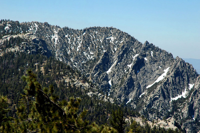Zoomed in on Tahquitz Peak 8,846 feet. You can see the fire lookout tower on it's peak.