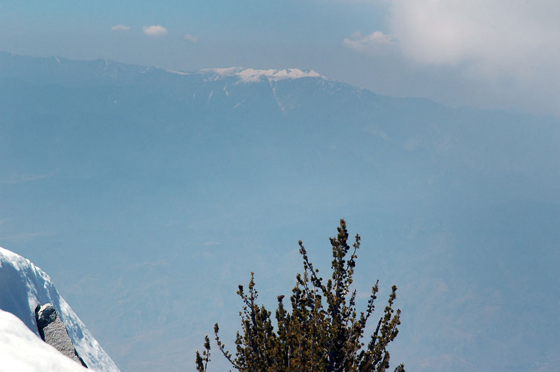 Zoomed in on San Gorgonio Mountain which at 11,500 feet is the highest peak in southern California.