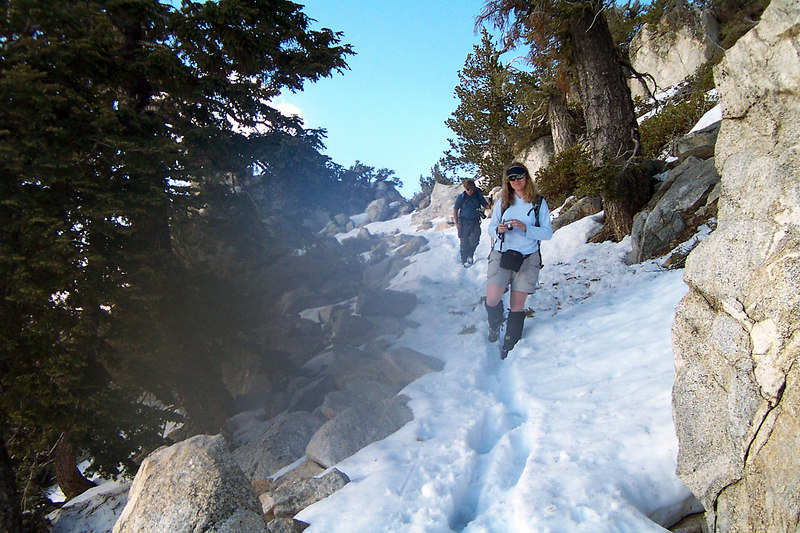 Starting down the South Ridge Trail. Still a lot of snow, but a faster way down than doubling back the way we came.