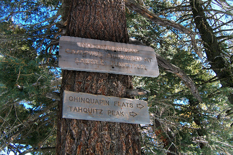 One of the signs at the junction, five trails meet here. We are heading to Tahquitz Peak.