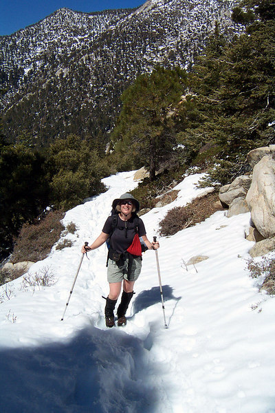 Kathy on the trail. The snow is starting to get a little deeper.