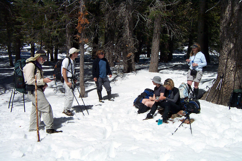 The gang at Saddle Junction at 8,000 feet. We took a break here for a few snacks.
