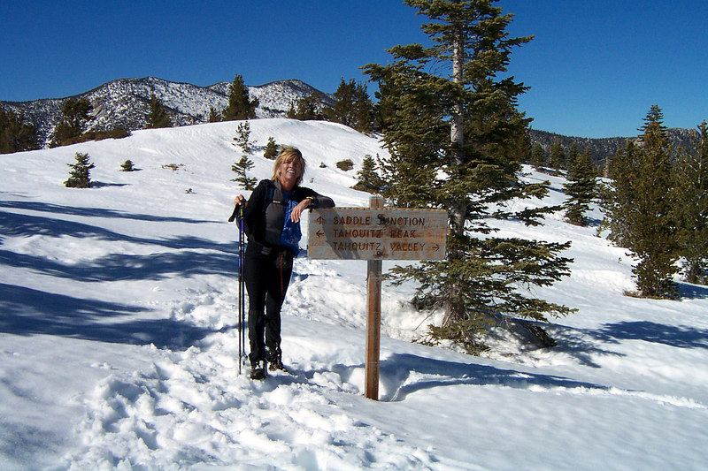 Sooz at the trail junction to Tahquitz Peak. The tracks we were following ended here. From here we climbed up the slope heading for the ridge.