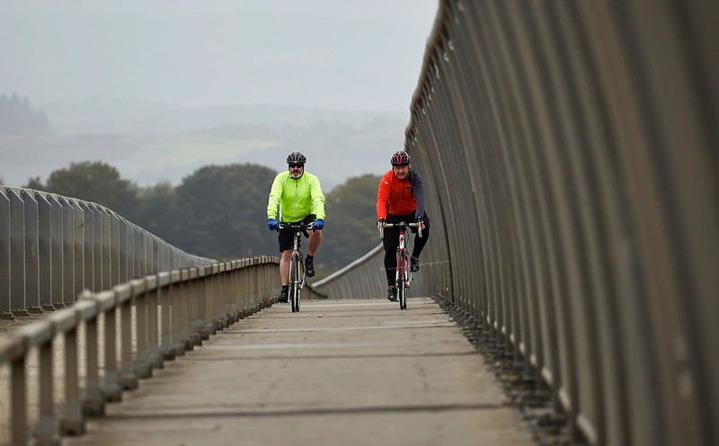 Cyclists in the Pedestrian Lane at Erskine Bridge - 28 September 2016