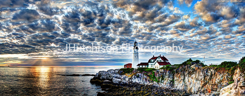 Dawn Breaks at Portland Head Light Panorama