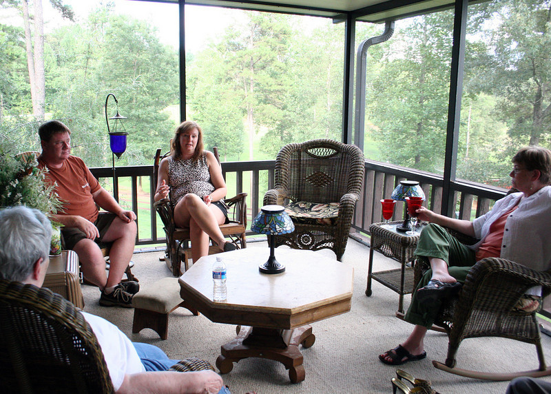 The Tri-State Business Women had this month's get together at Pam's house. John, Cathy and Judy.