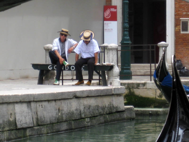 Unknown gondoliers<br /> Venice, Italy<br /> May 2008