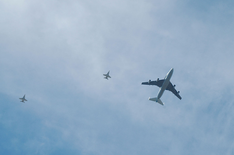 I zoomed out to get the F-18s in the photo. They were flying about 3,000 feet above me.