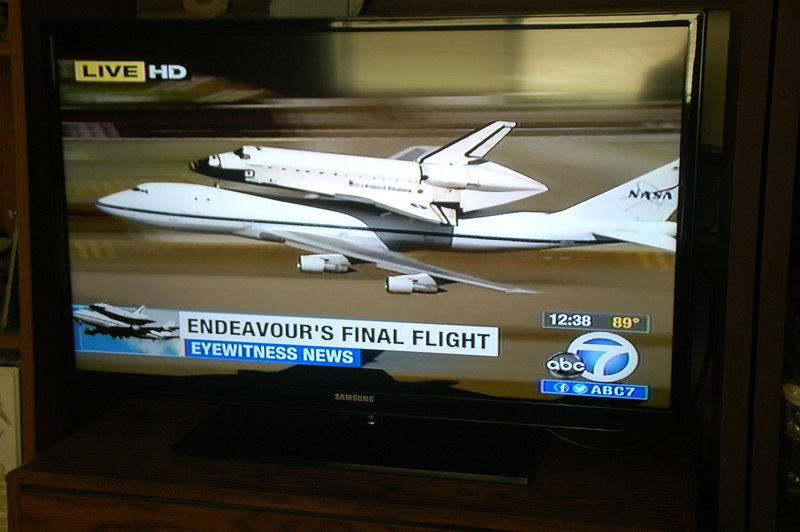 Back inside watching Endeavour on TV doing a low pass over the runway at LAX before it circled around for a landing. <br /> <br /> I'm happy that California was able to get one of the Shuttles. Plan to check it out at it's new home at the California Science Center in Los Angeles.<br /> <br /> THE END