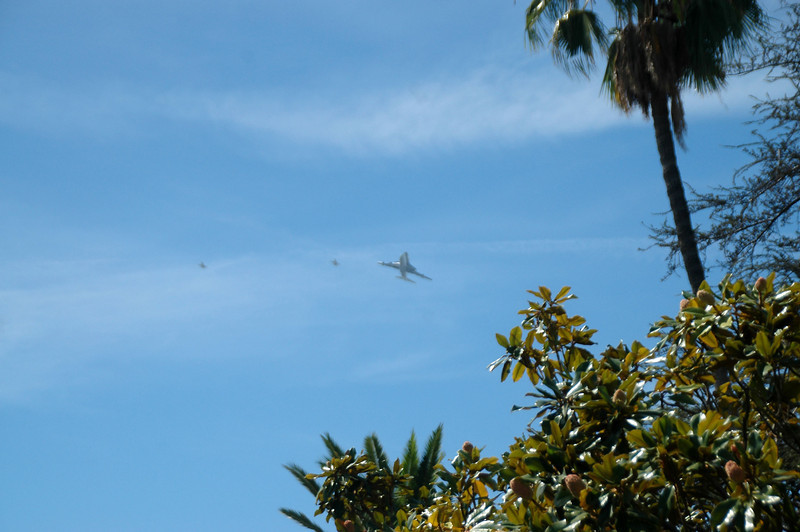 I was watching the flight on TV when I saw that they were heading east after flying around the Griffith Observatory and heading to JPL. Thought that they might be flying towards my home so I went to look. Soon as I got outside, I saw the 747 and the two NASA F-18 chase planes coming out of the southwest.