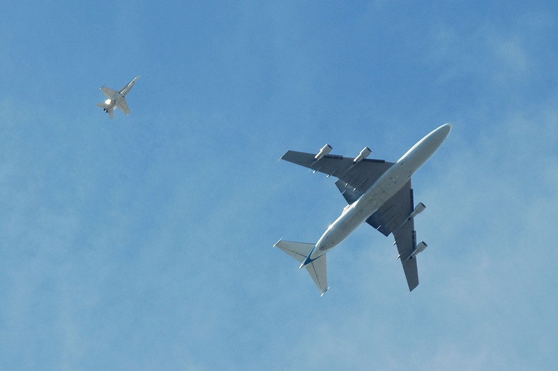 The planes are overhead now. They sounded great, loud, people were coming out of their houses and looking up, awesome.