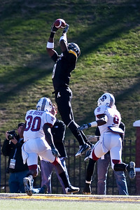 Brian Quick of App State skies high to bring down this catch for a touchdown against SCSU in the first round of the DI playoffs