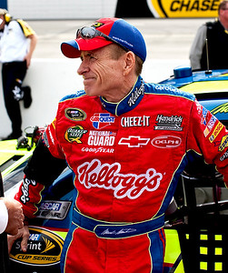 Mark Martin waits for the start of the race in the pits at Martinsville.