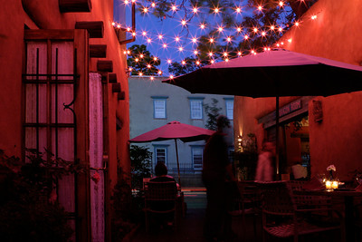 I was in a photography class in Santa Fe, New Mexico back in 2005. This wasn't actually part of a class assignment but I still love the photo. Taken after enjoying dinner with a friend. I believe the restaurant was called the Pink Adobe (go figure).