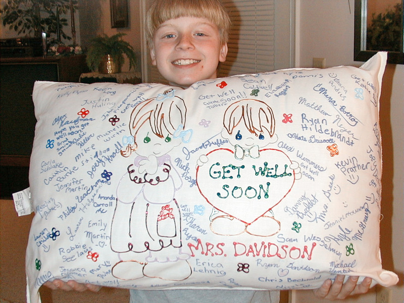 "<p class=""kbd_p""><i>Pillow made by Ryan's class</i></p>  <p class=""kbd_p""><b>Friday 10/15, 7:15 AM - Day 3</b></p>  <p class=""kbd_p"">I talked with Gina's nurse and she said that Gina had a good night.</p>  <p class=""kbd_p""><b>Friday 10/15, 11:30 PM - Day 3</b></p>  <p class=""kbd_p"">The end of a very long day... 3 days down so far, 7 to go to the magic 10 days (when the vasospasm risk diminishes). Gina was not as awake today as yesterday. At noon, they did a doppler test which is essentially an ultrasound probe aimed through various thin spots on the skull. This is done to measure the velocity of blood in several key arteries. The faster the flow, the more constricted the vessel (which means vasospasms). The doppler test results were not good- rated moderate to severe vs mild to moderate yesterday. This combined with the increased lethargy, caused much concern. A xenon CT scan was done to determine how much blood is making it to the brain and that too did not read very well. Based on this, they decided to do an angiogram (which accurately shows the level of vasospasms) and based on those results, try to lessen the spasms with a medication injected through the angio tube or by inflating a small balloon and physically dialating the vessels from the inside.</p>  <p class=""kbd_p"">This was devastating news to us all. In order to more accurately monitor her, they had to put yet more probes and catheters in. Fortunately, we were being looked over again because once they did the angiogram, they were surprised to find that the vasospasms were not as bad as feared. They held off on the treatment because the treatment can cause other complications.</p>  <p class=""kbd_p"">I know I had started to feel a bit more relaxed after having gotten through the clipping procedure. No more- I now clearly understand that the battle is not over. The vasospasms are a major hurdle that she must work through. We will not be in recovery mode until they subside. We ask you to please keep her in your prayers and thoughts to get through these next 7 days.</p>"