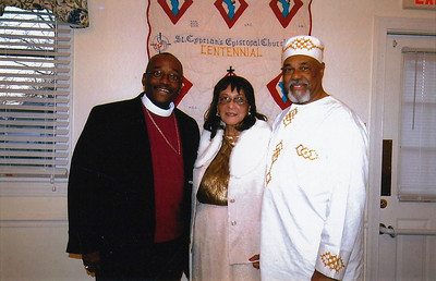 From left to right: Bishop Michael Curry; Dr. Helen C. Othow, Chairperson of Centennial Committee; Mr. Francis Powell, Junior Warden