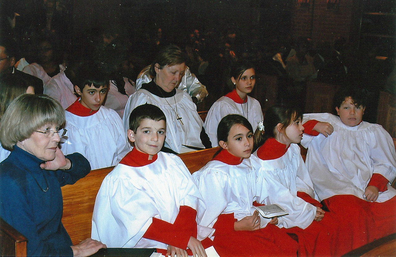 St. Stephen's Episcopal Church Youth Choir. Second row: Mrs. Jane Hamilton, Director. First row: Mrs. Diana Morgan, Pianist for St. Cyprian's.