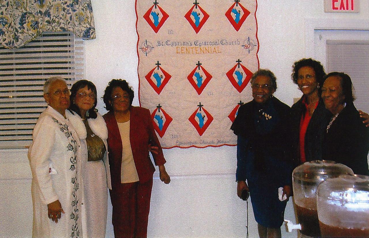The Centennial ECW Quilt. From left to right: Mrs. Gwen Davis; Dr. Helen Othow; Mrs. Ruby Burleson; Mrs. Ida Yancey; Dr. L. Francine Chavis; Mrs. Geraldine Green