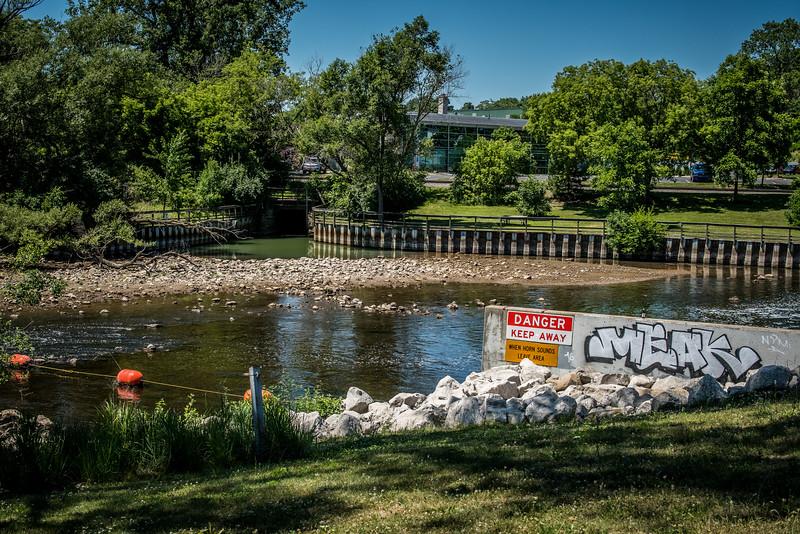 A dam on the Huron River, Ann Arbor, Michigan.  June, 2016.