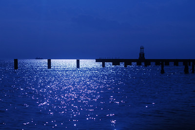 Lake Michigan as seen through blue Air Show sun shades