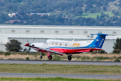 Pilatus PC-12 VH-FVF of the RFDS rotates on 05