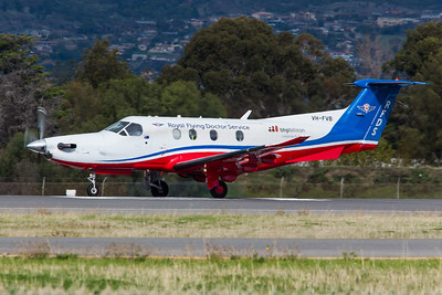 Pilatus PC-12 VH-FVB of the RFDS commences it's take off roll on 05