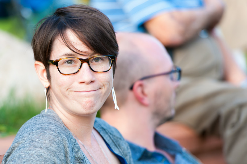 Jamie's friend (and her husband behind her) at the Ann Arbor Civic Band's final concert of the summer, July 23, 2014