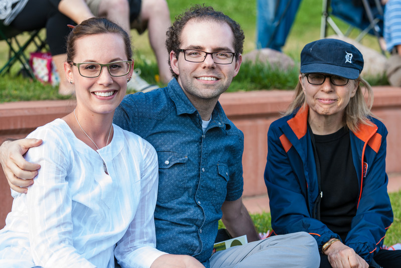 Jamie, Dan, and Marci at the Ann Arbor Civic Band's final concert of the summer, July 23, 2014