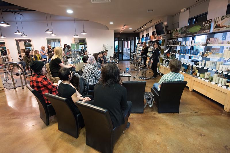 Aveda workshop, Avant Salon, Austin, 5/17/15