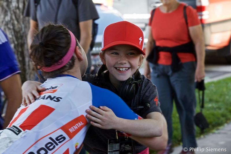 Ruby Isaac gets a hug from Megan Guarnier