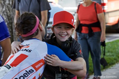 Ruby Isaac gets a hug from Megan Guarnier