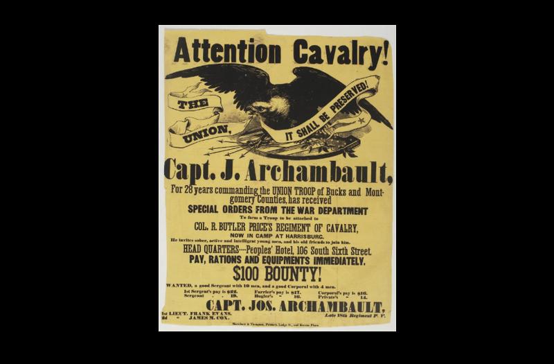 Archambault,  Joseph - Captain, Attention Cavalry (credit Library Company of Philadelphia)
