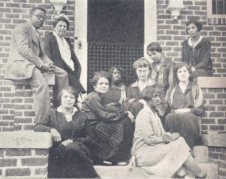 Faculty and students of the Tuttle Training School on the steps of Tuttle House.