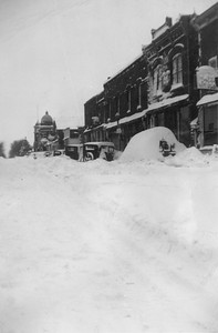 2009.033.1.16--print 3x4.5--C&NW--scene east side of business district after snowstorm--Cuba City WI--1953 0100